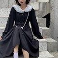 Платье женское Бандажное длинное с длинным рукавом, милое Черное вечернее на шнуровке, весна-осень