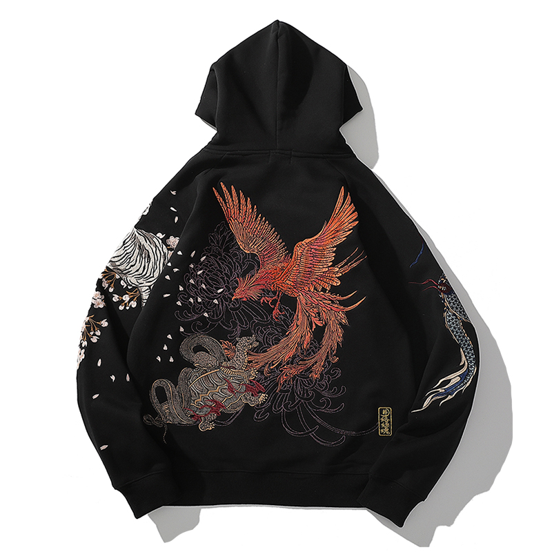 2020 new Chinese style embroidery four gods beast dragon tiger hooded hoodie autumn and winter plus velvet thick men's clothing