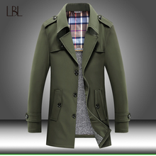 Outwear Jacket Trench-Coat Vintage Windbreak Thicken Male Long Mens Casual Winter Warm