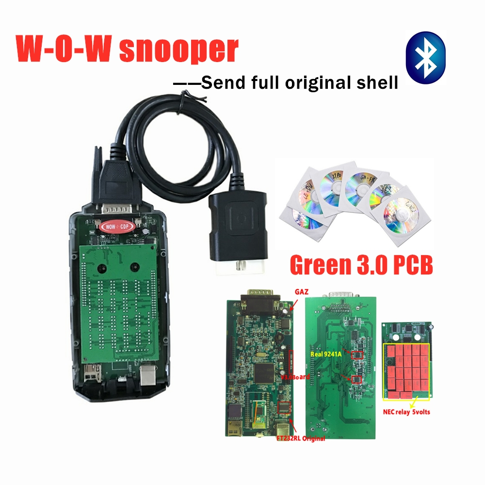 2019 W-O-W Snooper C-D-P Best V3.0 PCB With Bluetooth 2016.R0 Keygen V5.008 R2 For W-o-w Car Truck OBD2 Scanner Diagnostic Tool