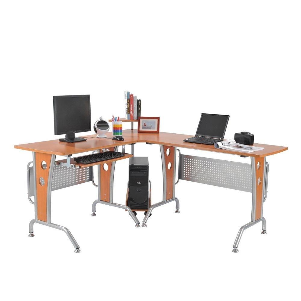 【Entrepôt usa 】 bureau d'ordinateur d'angle en forme de L avec rangement clapier et plateau clavier