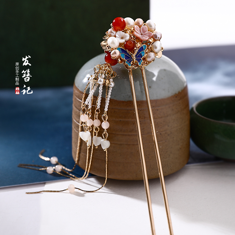Pink Shell Hairpin Antique Style Hair Accessories Headdress Hairpin Tassels Chinese Clothing Accessories Gold-Plated