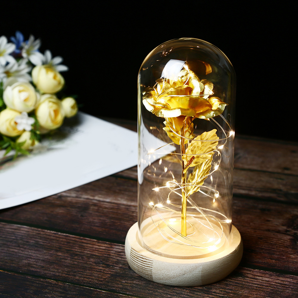Beauty And The Beast Enchanted Red Rose Glass Dome LED Lamp Valentine/'s Gift Hot