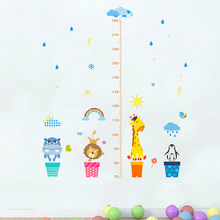 Funny Animals Growth Chart Wall Stickers Kids Room Decorations DIY Cartoon Home Decor Safari Height Measure Mural Decals