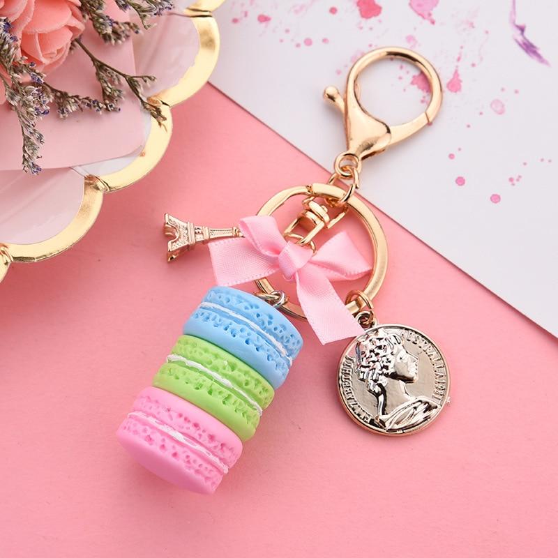 New Macaron Cake Keychain Bow Paris Tower Key Ring Charm Car Keychain Party Gift Jewelry 3087