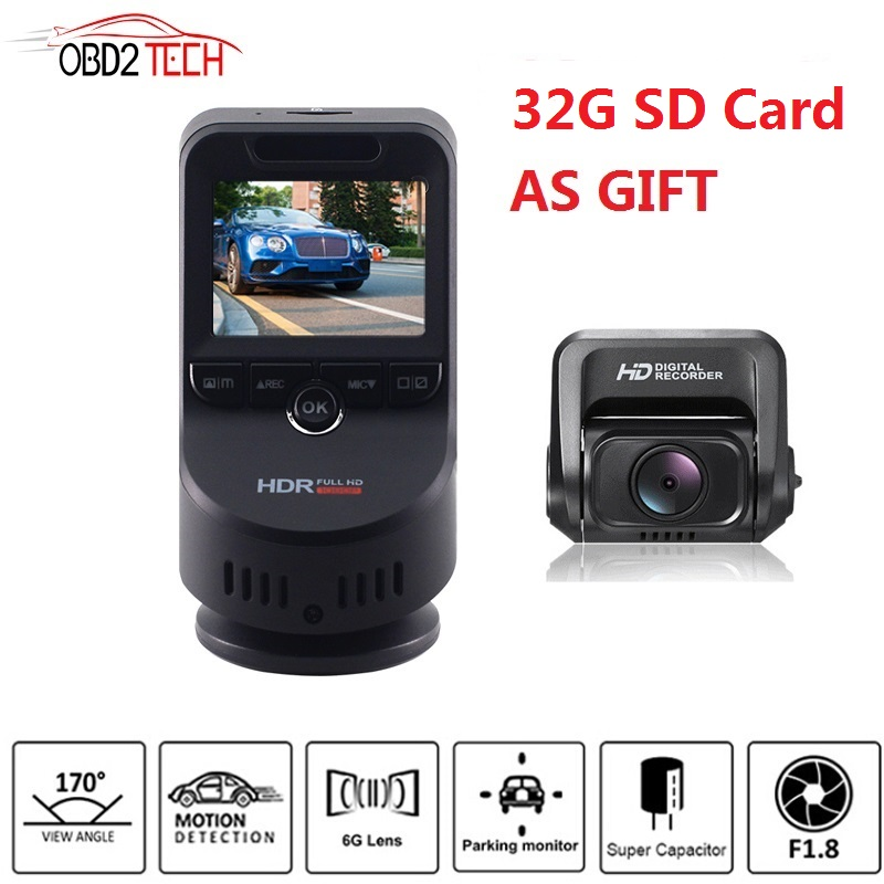 Lente dupla 4 k ultra hd wifi carro traço cam t691c 2160 p 60fps adas dvr com 1080 p sony sensor câmera traseira visão noturna gps + 32g sd