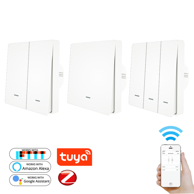 1/2/3 CH Wireless Remote Control Light Switch APP Voice Tuya ZigBee3.0 Timer Push Button ZB Hub Smart Life Alexa Google Home