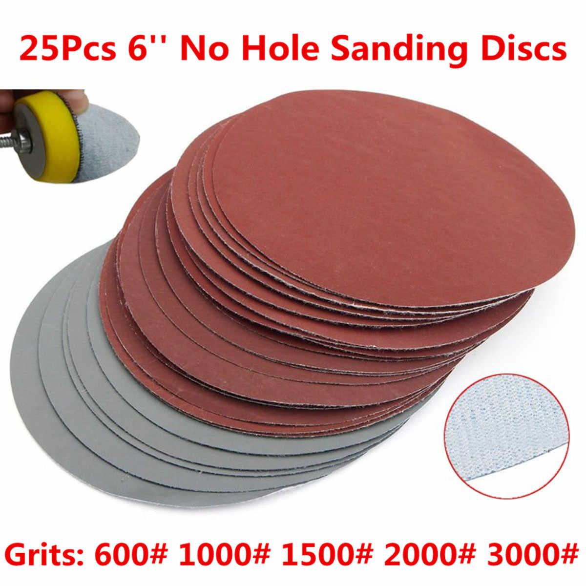 25 Buah/Set Bulat Amplas Disk Pasir Lembar Grit 600-3000 Hook Loop Sanding Disc untuk Sander Bubur Jagung Alat Abrasif 150Mm 6 Inci