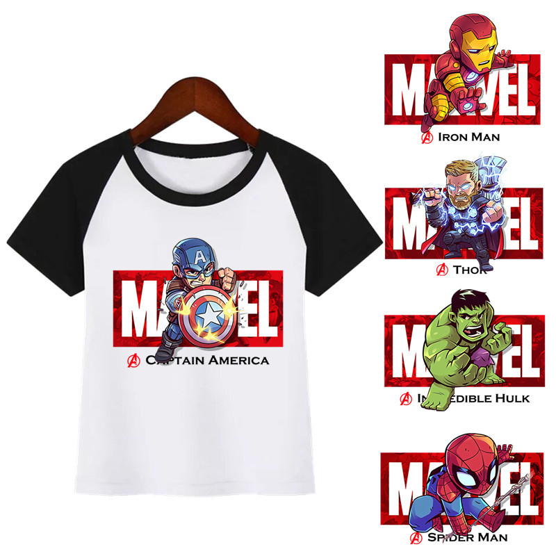 Boys Girls Marvel Avengers Iron Man/Captain America/Spiderman/Hulk Funny T-shirt Kids Cartoon Tops Children Tshirt Baby Clothes