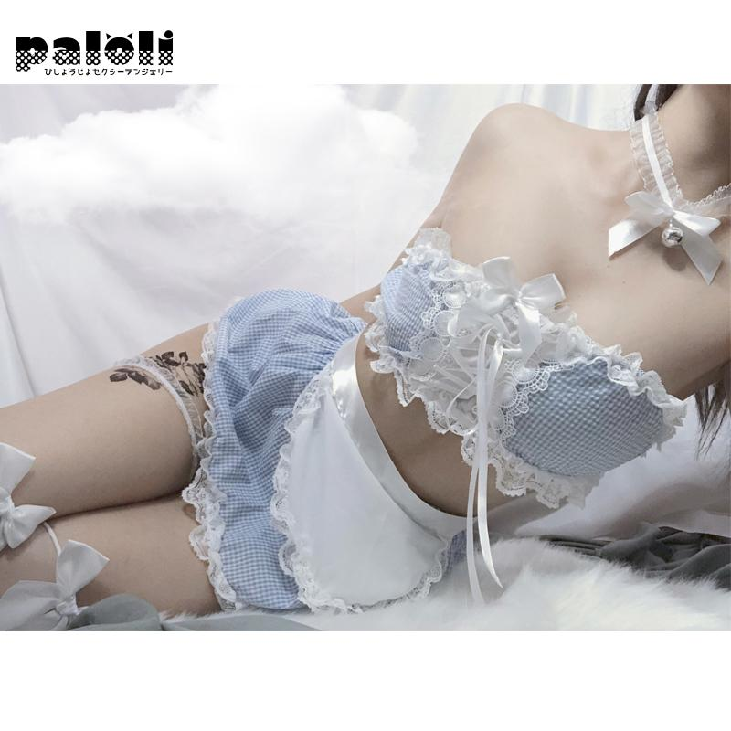 Paloli Sexy Underwear Sexy Lovely Maid Skirt Blue Plaid Nightdress Girl Bra Top Vest Lace Kawaii Uniform Temptation Set