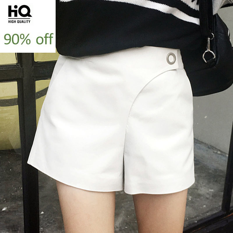 Top Brand Women Casual High Waist Shorts Black White Slim Fit Trousers Female Designer Genuine Leather Wide Leg A Line Short