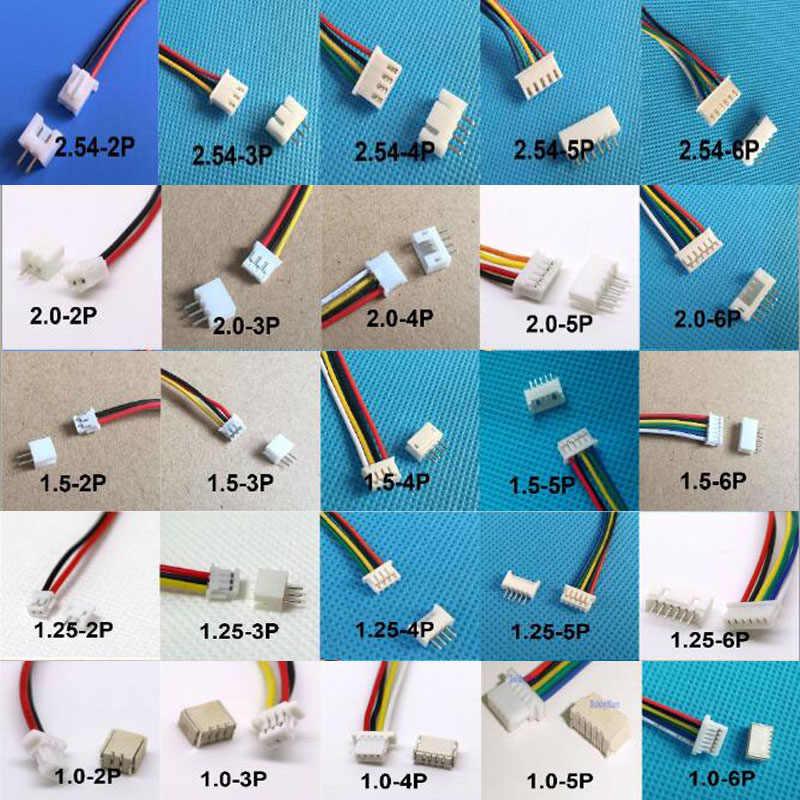 10 Set 1.0 Mm 1.25 Mm 1.5 Mm 2.0 Mm 2.54 Mm 2 P/3/4/5 /6/7/8/9/10P Pin Laki-laki dan Perempuan Konektor PCB SH/ 1.25/Zh/ID/Xh Wire