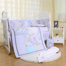 цена на 4Pcs/Set Soft Breathable 100% Cotton Crib Bedding Set Crib Skirt Baby Organizer Dream Butterfly Boy And Girl Crib Bedding Set