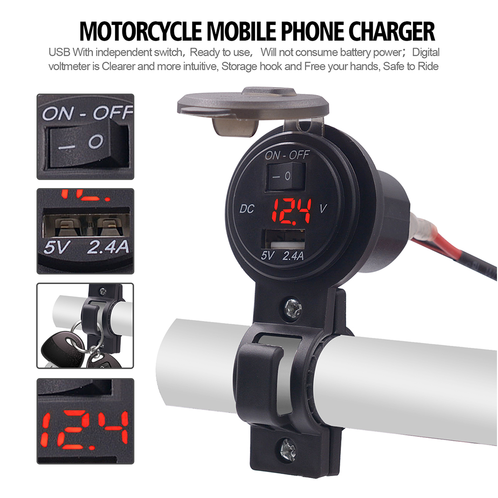 5V/2.4A Motorcycle USB Power Socket Adapter DC 12V-24V Waterproof Moto Charger Plug Voltmeter Handlebar Mount Outlet With Switch