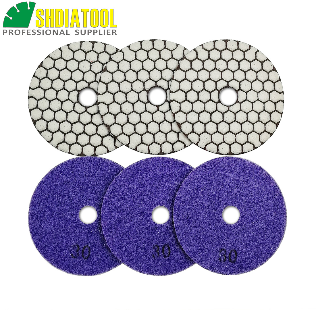 SHDIATOOL Diamante Almohadilla de Pulido 7 Piezas Grano 100 para Pulir en Seco M/ármol Granito Piedra Cer/ámica Dia 100mm//4 Pulgadas