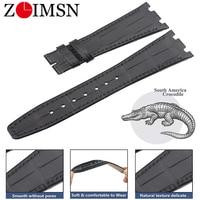 ZLIMSN Customized Crocodile Leather Strap Fit For Audemars Piguet Leather WatchBand Watch Strap