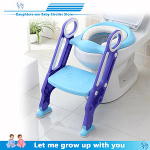 Potty with Adjustable Ladder Infant Toilet-Training Folding-Seat Baby Children's New