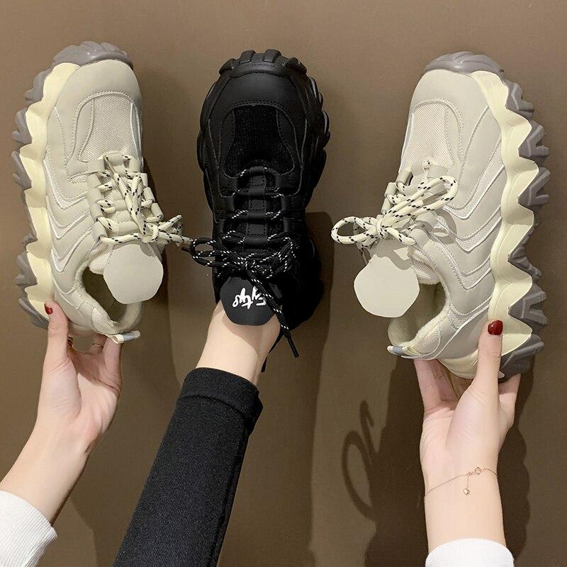 Zapatos de plataforma para mujer 2020, novedad de verano, suela gruesa, pastel de esponja, zapatos negros para papá, calzado deportivo informal Delgado, zapatillas de deporte para mujer 4