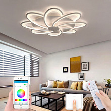 Living room bedroom acrylic aluminum LED ceiling lamp modern LED chandelier hotel villa ceiling lamp remote control APP control