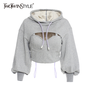 TWOTWINSTYLE Hollow Out Gray Sweatshirt For Women Hooded Collar Long Sleeve Fake Two Casual Short Tops Female 2020 Fashion Fall