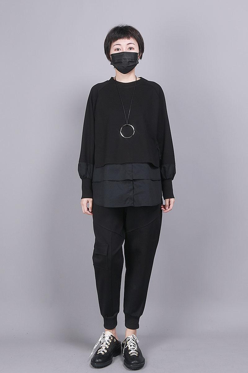 [EAM] Loose Fit Black Split Joint Big Size Sweatshirt New Round Neck Long Sleeve Women Big Size Fashion Tide Spring 2020 1R856 5