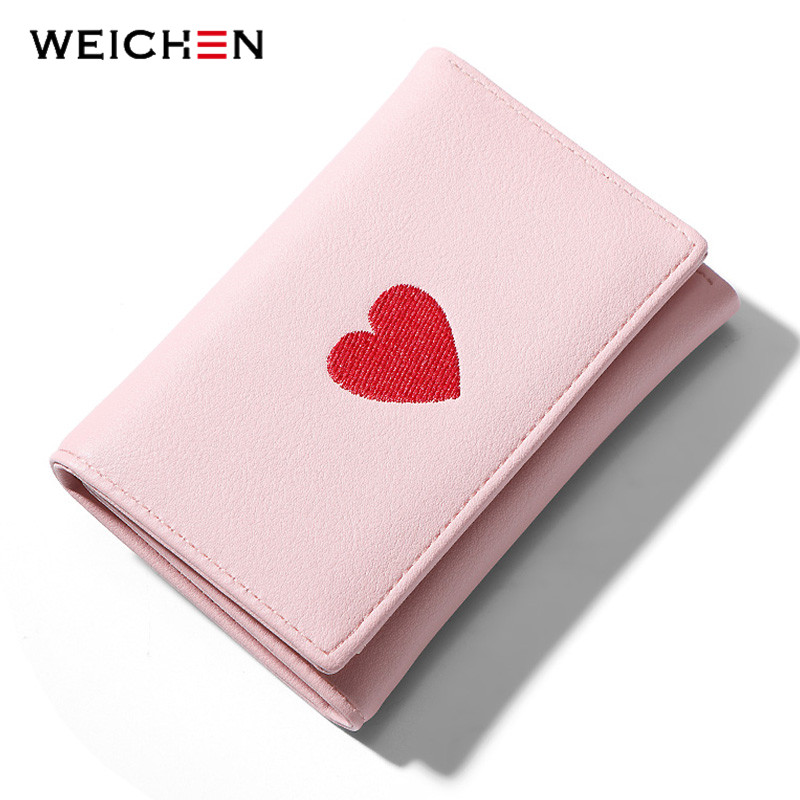 WEICHEN 2020 Designer Embroidery Heart Wallet Women Brand PU Leather Fashion Trifold Small Wallets Female Purse Ladies Carteira|Wallets| - AliExpress