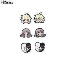 Danganronpa V3 – boucles d'oreilles Monokuma pour Fans, Otaku Kawaii, dessin animé, émail, acier inoxydable, bijoux japonais