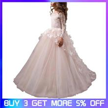 цена Girls dress Children's Dress Princess Dress Girl's Long Sleeve Wedding Tutu Long Piano Costume Flower Girl Dress
