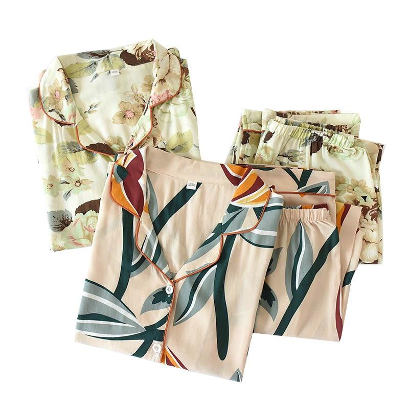 2020 Spring New Floral Print Ladies Cotton Long-sleeved Clothes+Pants Comfort Sleepwear Women Thin Large Size Loose Pajamas Set