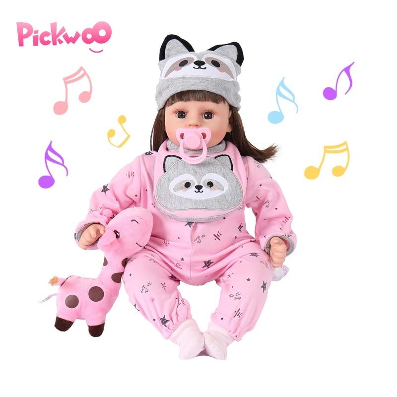 Pickwoo Lovely Princess Cotton Body Reborn Baby Doll Soft Vinyl Intelligent Sensing Lifelike Bonecas Meninas Doll For Children