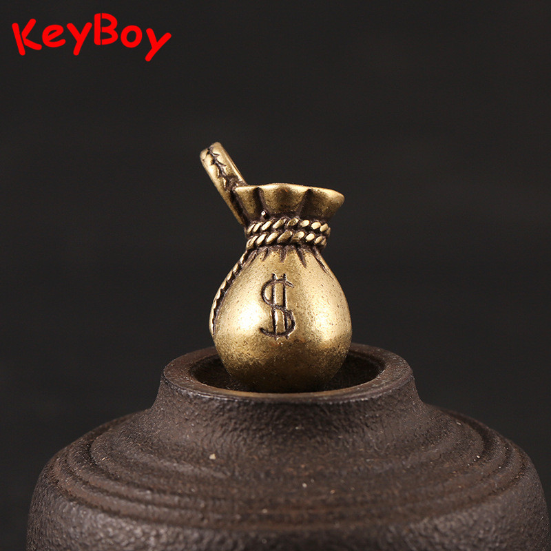 Brass Lucky Blessing Money Bag Handmade US Dollars Bags Keychain Pendants Men Car Key Chain Ring Vintage Keyrings Jewelry Gifts
