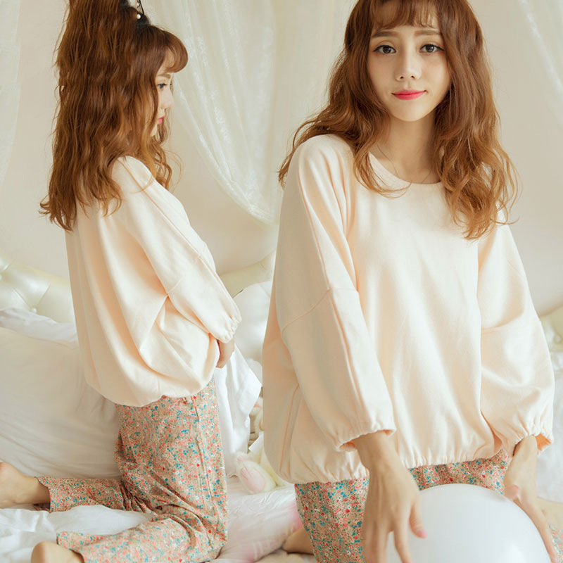 2017 Autumn Loose-Fit Long Sleeve Tracksuit Pajamas Suit-Style Two-Piece Set Korean-style Floral Set High Quality Fabric