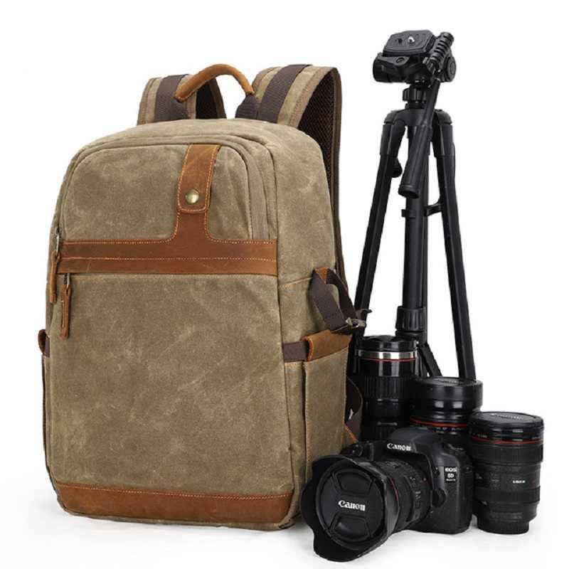 DSLR Tas Kamera Kanvas Fotografi Ransel Kapasitas Yang Lebih Besar Luar Ruangan Tahan Air Tas Liner untuk Nikon Sony Canon Lensa