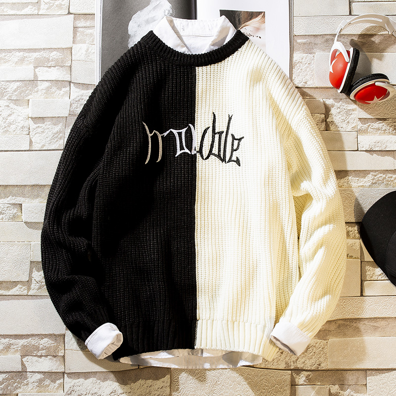 New Color Block Patchwork Knit Sweaters Mens 2019 Hip Hop Winter Casual Pullover Sweater Male Fashion Loose Long Sleeve Sweaters