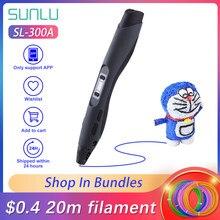 SUNLU SL-300A Original 3D Druck Stift Für PLA PCL ABS Filament 1,75mm Intelligente 3D Stift Für Kinder Dooling Mit led-bildschirm