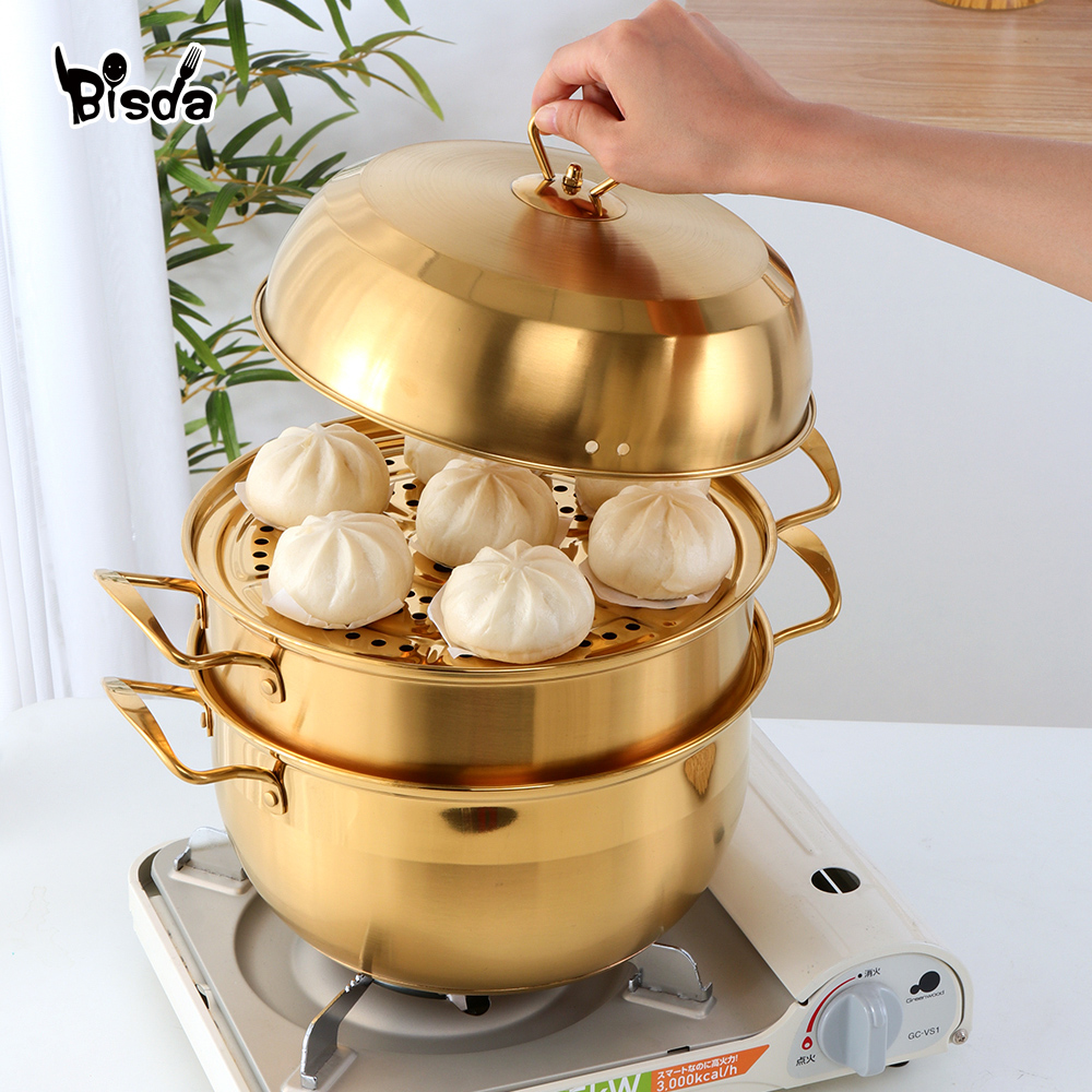 3 layers Steamer Pot Stainless Steel Cookware Gold Cooking Pots Boiler Tools Soup Pot Cooking Pots for Cooker Gas Stove