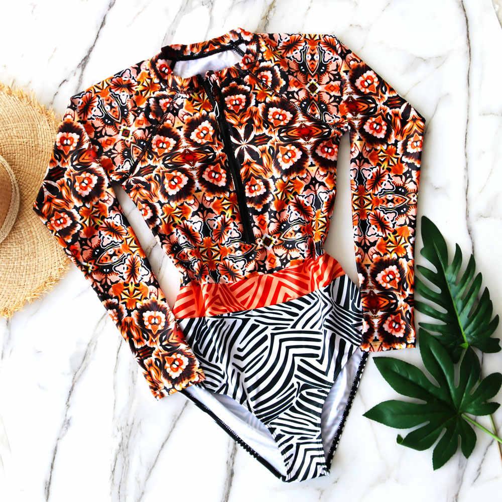 2017 Print Floral One Piece Swimsuit Pakaian Renang Wanita Lengan Panjang Baju renang Retro Swimsuit Vintage One-piece Berselancar Berenang setelan