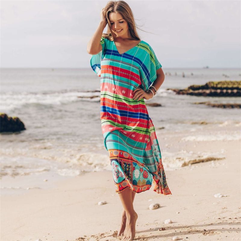 Beach Cover up Tunics for Beach Print Long Bikini Cover up Beach Wrap Swimsuit