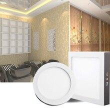 Не режущий 6 Вт 12 Вт 18 Вт 24 Вт круглый/Квадратный светодиодный панельный светильник поверхностного монтажа внутренний светильник ing светодиодный потолочный AC85-265V с Драйвером