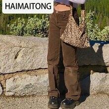 Pantaloni da jogging in velluto a coste Y2K Sweetown pantaloni Cargo da donna anni '90 Streetwear caramello marrone vita bassa E ragazza pantaloni dritti estetico donna