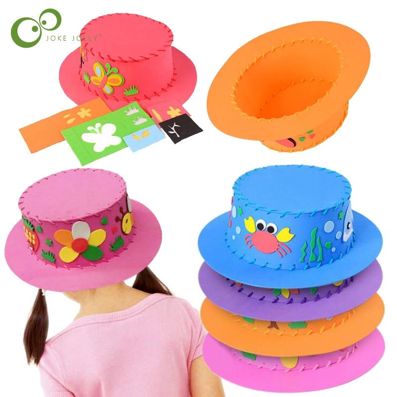 3 pièces fait à la main 3D EVA chapeau enfants bricolage à la main chapeau 3D EVA fait à la main artisanat cadeaux Kits bricolage chapeau artisanat jouets pour les enfants GYH
