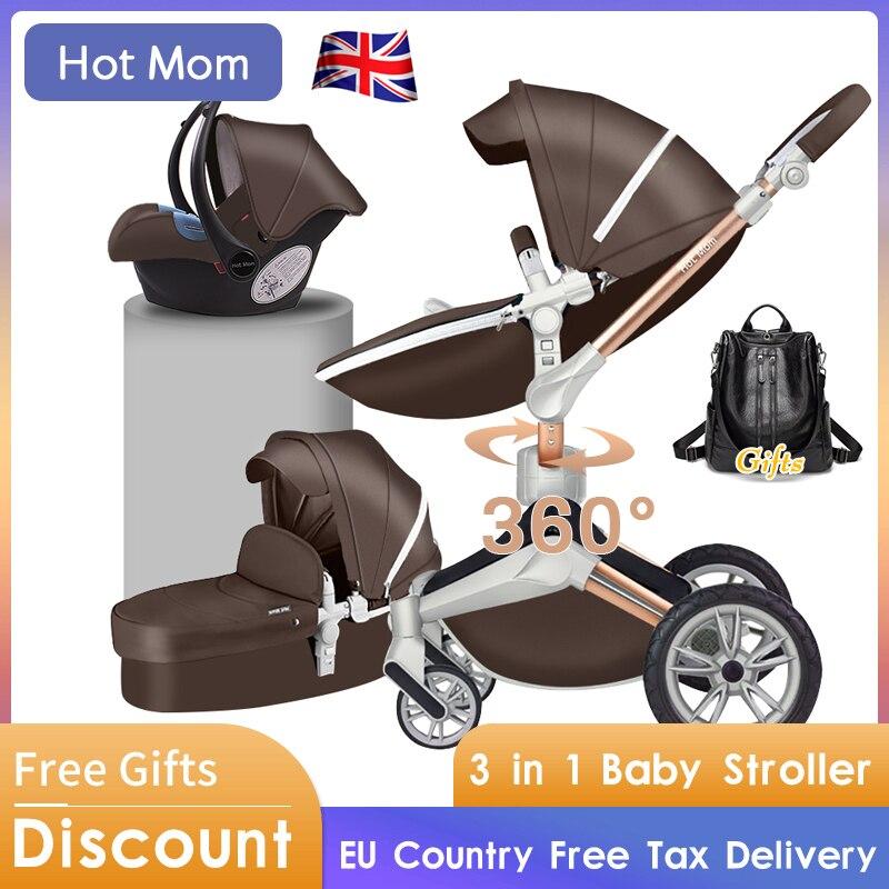 €149.28 36% de DESCUENTO|Hot Mom 4 en 1 cochecito de bebé de lujo paisaje alto 3 en 1 luz plegable cuatro ruedas cochecito de bebé CE estándar envío gratis regalos|Cochecito de cuatro ruedas| | - AliExpress