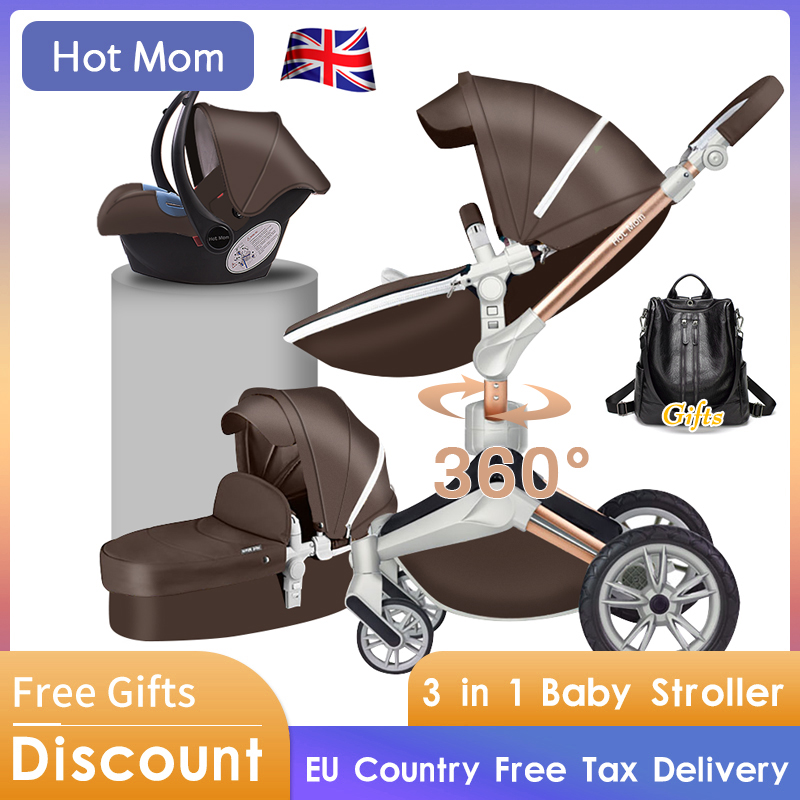 Hot Mom 4 in 1 Luxury Baby Stroller High Landscape <font><b>3</b></font> in 1 Light folding Four Wheels Baby Pram CE standard free shipping Gifts image