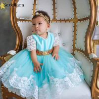 Baby Infant Clothes White Lace Applique with Gold Bow Little Girls Birthday Party Dress Long Gown Kid Size 6M 9M 12M 18M 24M