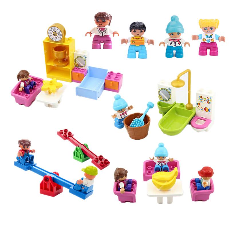 Funny DIY Building Blocks Bedroom Bathroom Living Room Series Girls Favorite Role Play Toys Compatible Parts