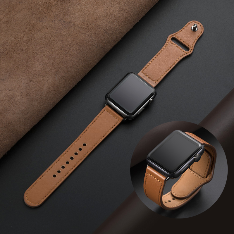 Genuine leather loop strap for apple watch band 42mm 44mm apple watch 4 5 38mm 40mm iwatch 3/2/1 correa replacement bracelet