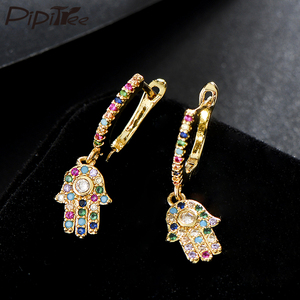 Pipitree Fashion Gold Color Hamsa Hand Earrings Micro Paved Cubic Zirconia Women Drop Earrings Jewelry Party Gift Bijoux Femme