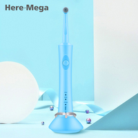 Rotativa Tipo HERE-MEGA Tempo Escova de Dentes escova de Dentes Elétrica Branqueamento De Limpeza de Super À Prova D' Água para Adultos 2 Cabeças R02
