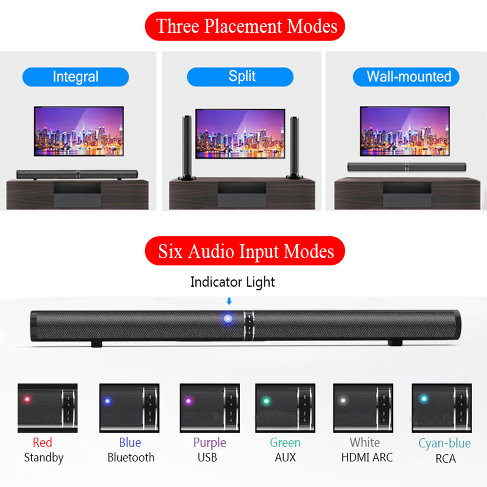 50W Bluetoth Speaker detachable TV Soundbar Hifi 3D Stereo