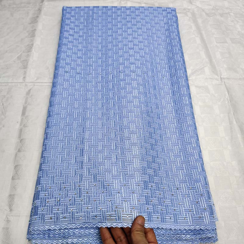 Sky Blue African Polish Lace Fabric 2019 High quality Embroidered French Lace Stones Nigerian Swiss Voile Lace Fabric for Men-in Lace from Home & Garden    1